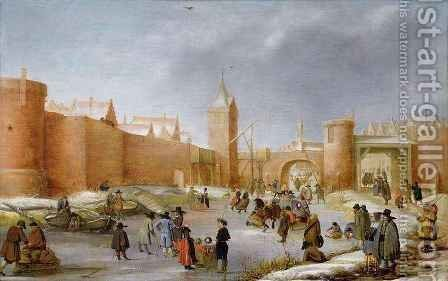 Skaters and Kolf Players Outside the City Walls of Kampen by Barent Avercamp - Reproduction Oil Painting