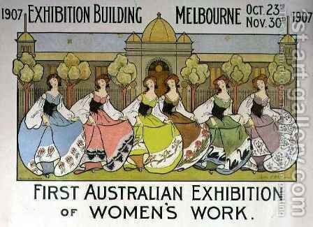 Design for a poster advertising the 'First Australian Exhibition of Women's Work' at the Exhibition Building in Melbourne by Helen L. Atkinson - Reproduction Oil Painting