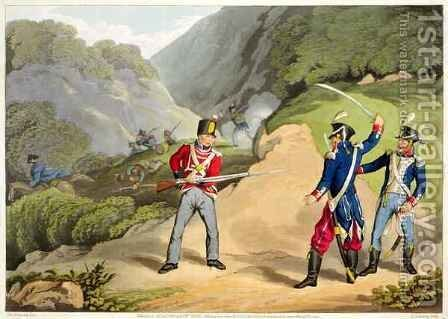 A British Soldier Taking Two French Officers at the Battle of the Pyrenees by (after) Atkinson, John Augustus - Reproduction Oil Painting