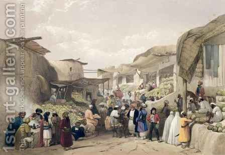 The Main Street in the Bazaar at Caubul, in the Fruit Season, from 'Sketches in Afghau by (after) Atkinson, James - Reproduction Oil Painting