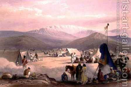 The Encampment at Dadur, with the Entrance to the Bolan Pass, from 'Sketches in Afghaunistan' by (after) Atkinson, James - Reproduction Oil Painting
