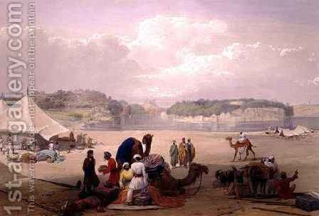 The Town of Roree, and the Fortress of Bhukker, on the Indus, from 'Sketches in Afghaunistan' by (after) Atkinson, James - Reproduction Oil Painting