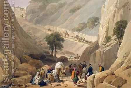 The Troops Emerging from the Narrow Part of the Defile in the Koojah Pass, from 'Sketches in Afghaunistan' by (after) Atkinson, James - Reproduction Oil Painting
