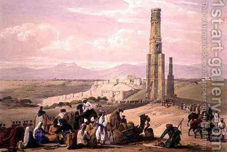 The Fortress and Citadel of Ghunzee and The Two Minars, from 'Sketches in Afghaunistan' by (after) Atkinson, James - Reproduction Oil Painting