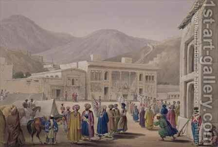 The Durbar-Khaneh of Shah Shoojah-Ool-Moolk, at Caubul, from 'Sketches in Afghaunistan' by (after) Atkinson, James - Reproduction Oil Painting