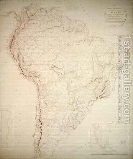 Outlines of the Physical and Political divisions of South America by Aaron Arrowsmith - Reproduction Oil Painting