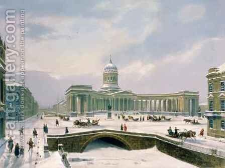 Kazan Cathedral, St. Petersburg by (after) Arnout, Louis Jules - Reproduction Oil Painting