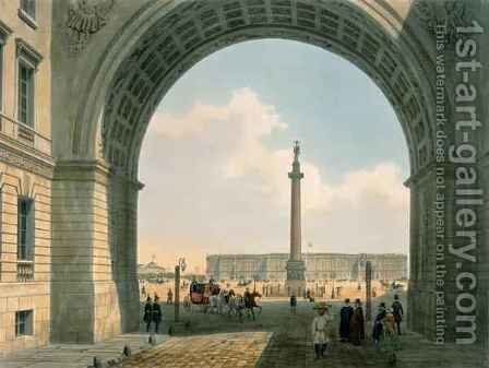 Palace Square, View from the Arch of the Army Headquarters, St. Petersburg by (after) Arnout, Louis Jules - Reproduction Oil Painting