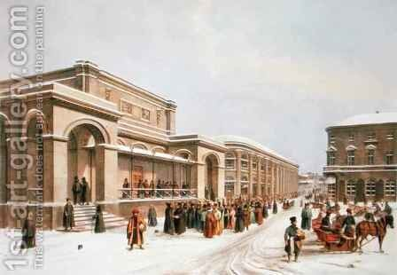 The New Stock Exchange and the Arcade in Moscow by (after) Arnout, Louis Jules - Reproduction Oil Painting