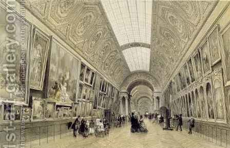 View of the Great Gallery at the Louvre by (after) Arnout, Louis Jules - Reproduction Oil Painting