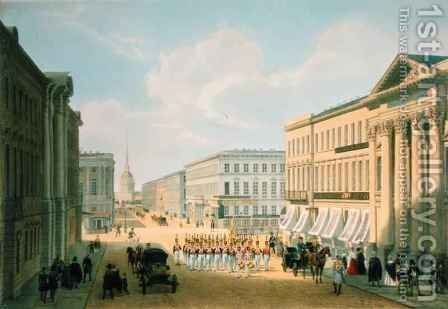 The Police Bridge and Nevsky avenue in St. Petersburg by (after) Arnout, Louis Jules - Reproduction Oil Painting