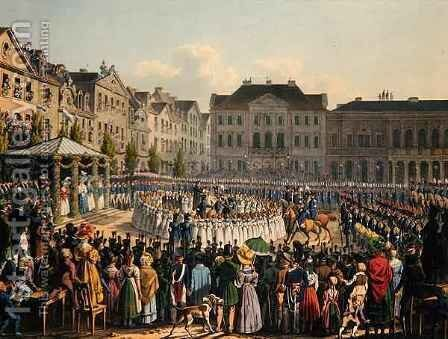 Flag Consecration Ceremony of the Kassel Citizen Guard in 1831 by Johann Christian Arnold - Reproduction Oil Painting