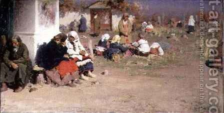 Radonice Before Mass by Abram Efimovich Arkhipov - Reproduction Oil Painting