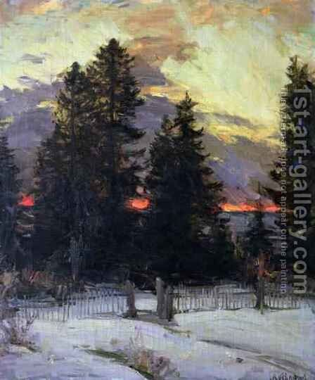 Sunset over a Winter Landscape by Abram Efimovich Arkhipov - Reproduction Oil Painting