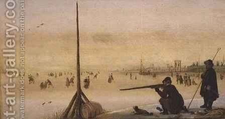 Winter Landscape with Duck Hunter by Arent Arentsz - Reproduction Oil Painting