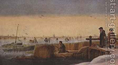 Winter Landscape with Figures on a Bridge, a Hunter and Skaters by Arent Arentsz - Reproduction Oil Painting