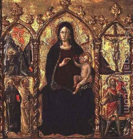 Triptych Madonna and Child (central panel) with Saints and a scene of the Crucifixion by Cola da Camerino Arcangelo di - Reproduction Oil Painting