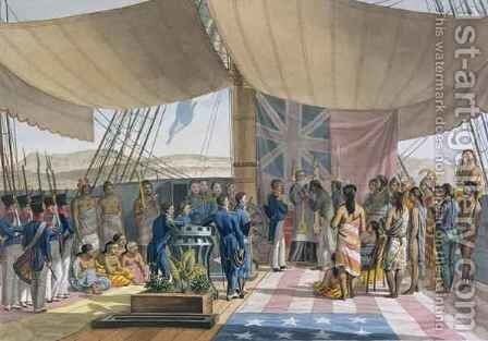 The Sandwich Islands The Christening of the King's Prime Minister on Board the 'Uranie' by (after) Arago, Jacques Etienne Victor - Reproduction Oil Painting