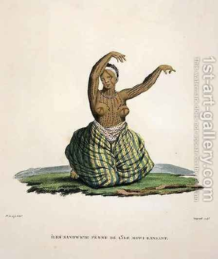 Dancing woman from the island of Maui, in the Hawaiian Islands by (after) Arago, Jacques Etienne Victor - Reproduction Oil Painting