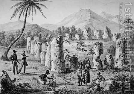 Northern Mariana Islands: Ruins of Antique Pillars on the Island of Rota, from 'Voyage Autour du Monde sur les Corvettes de L'Uranie' by (after) Arago, Jacques Etienne Victor - Reproduction Oil Painting