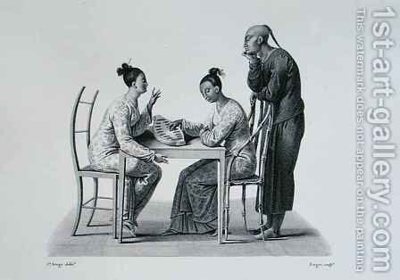 Chinese playing Tchonka in Coupang, Timor, from 'Voyage Autour du Monde sur les Corvettes de L'Uranie 1817-20' by (after) Arago, Jacques Etienne Victor - Reproduction Oil Painting