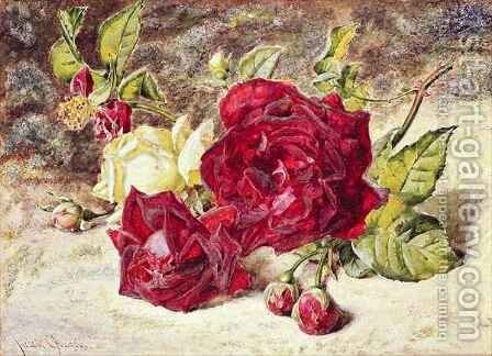 One White and Two Red Roses and Buds by Helen Cordelia Coleman Angell - Reproduction Oil Painting