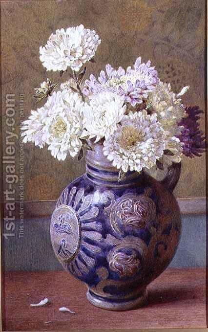 Chrysanthemums in a stoneware jug by Helen Cordelia Coleman Angell - Reproduction Oil Painting