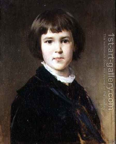 Portrait of the Artist's Son, Gustav by Baron Heinrich von Angeli - Reproduction Oil Painting