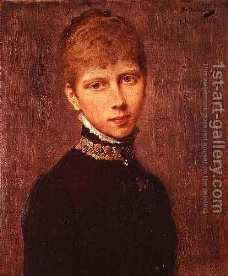 Portrait of Princess Victoria of Prussia (1840-1901) by Baron Heinrich von Angeli - Reproduction Oil Painting