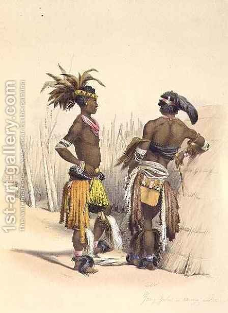 Umbambu and Umpengulu, Young Zulus in Dancing Costume by (after) Angas, George French - Reproduction Oil Painting