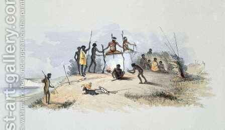 The Aboriginal Inhabitants Native Tombs and Means of Disposing of their Dead, from 'South Australia Illustrated' by (after) Angas, George French - Reproduction Oil Painting