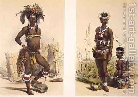 N'Pae a Young Zulu in Gala Dress and Two of King Panda's Dancing Girls by (after) Angas, George French - Reproduction Oil Painting