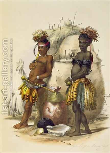 Dabiyaki and Upapazi, Zulu Boys in Dancing Dress by (after) Angas, George French - Reproduction Oil Painting