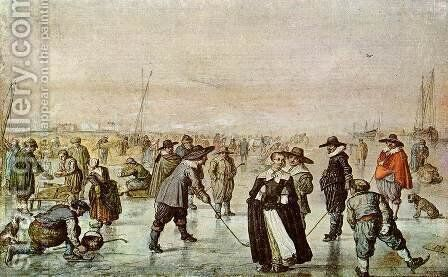 A Scene On The Ice by Hendrick Avercamp - Reproduction Oil Painting
