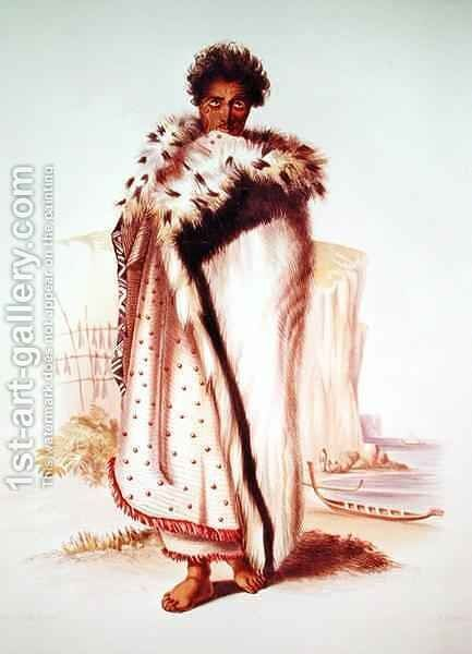Rangitakina, a Chief of the Bay of Plenty on the East Coast by (after) Angas, George French - Reproduction Oil Painting