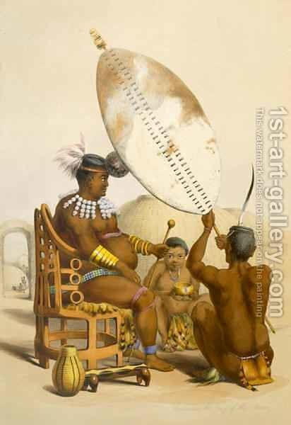 Umpanda the King of the Amazulu 2 by (after) Angas, George French - Reproduction Oil Painting
