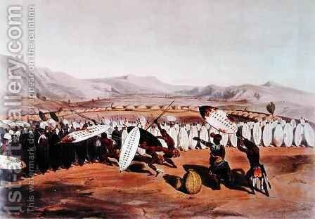 Umpanda Reviewing his Troops at Nonduengo by (after) Angas, George French - Reproduction Oil Painting