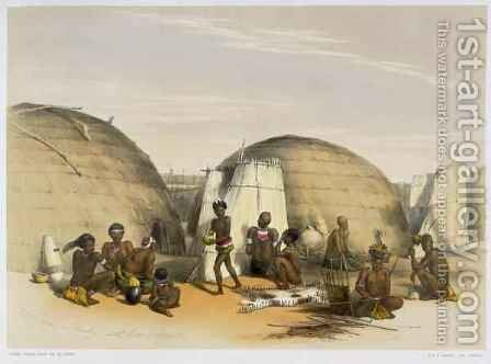 Zulu Kraal at Umlazi with Huts and Screens by (after) Angas, George French - Reproduction Oil Painting
