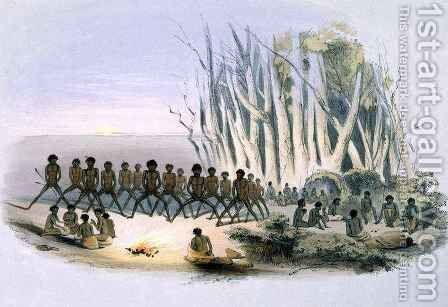 The Aboriginal Inhabitants: The Palti Dance, from 'South Australia Illustrated' by (after) Angas, George French - Reproduction Oil Painting