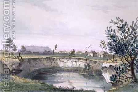 Messrs' Arthur's Sheep Station, with one of the volcanic wells. Mount Schank in the distance - early morning, from 'South Australia Illustrated' by (after) Angas, George French - Reproduction Oil Painting