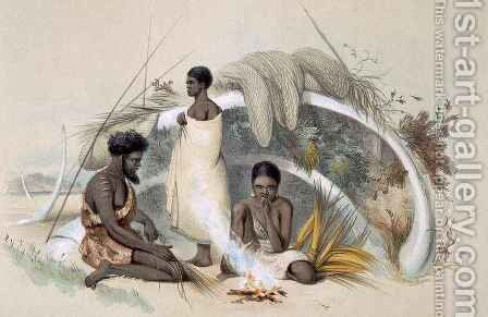 Natives of Encounter Bay, making cord for fishing nets in a hut formed from the ribs of a whale by (after) Angas, George French - Reproduction Oil Painting