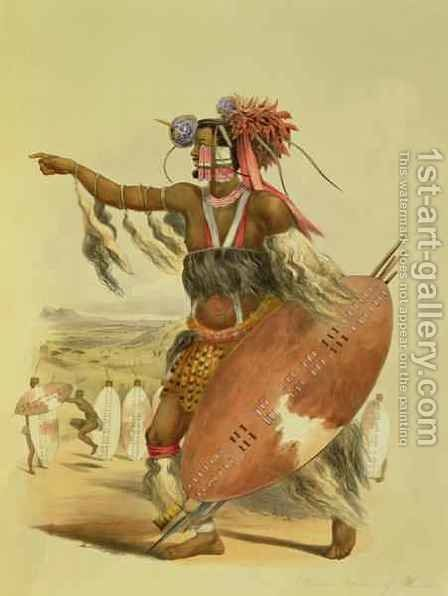 Zulu warrior, Utimuni, nephew of Chaka the late Zulu king by (after) Angas, George French - Reproduction Oil Painting
