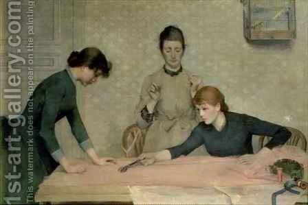 The Sewing Class by Alix d' Anethan - Reproduction Oil Painting