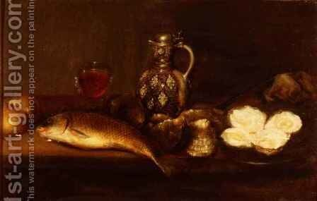 A breakfast still life with a stoneware jug, fish and oysters by Alexander Andriessen - Reproduction Oil Painting