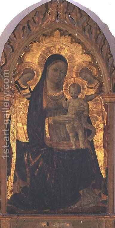 Madonna and Child with Two Angels by Giusto Manzini Andrea di - Reproduction Oil Painting