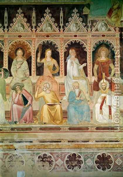 The Triumph of the Catholic Doctrine, detail of Practical Theology and Boethius, Hope and St. John Damascene, Faith and St. Denys the Areopagite, Charity and St. Augustine by Bonaiuto (Andrea da Firenze) Andrea di - Reproduction Oil Painting