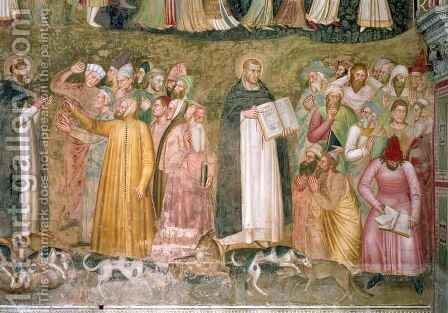 The Church Militant and Triumphant, detail of SS. Thomas and Peter confuting the heretics, from the Spanish Chapel by Bonaiuto (Andrea da Firenze) Andrea di - Reproduction Oil Painting