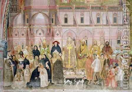 The Church Militant and Triumphant, detail of the secular authorities with Santa Maria del Fiore in the background, from the Spanish Chapel 2 by Bonaiuto (Andrea da Firenze) Andrea di - Reproduction Oil Painting