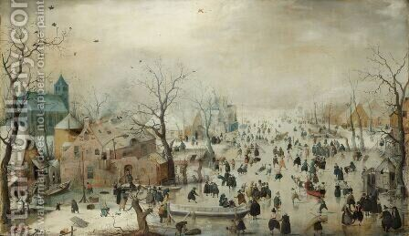 Winter Landscape 1608 by Hendrick Avercamp - Reproduction Oil Painting