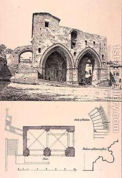 Fonte Branda, Siena, Italy, from 'Examples of the Municipal, Commercial, and Street Architecture of France and Italy from the 12th to the 15th Century' by (after) Anderson, R. - Reproduction Oil Painting